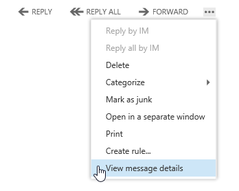 View Message Details command in OWA 2013.