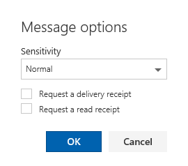 Message Options dialog Outlook on the Web.
