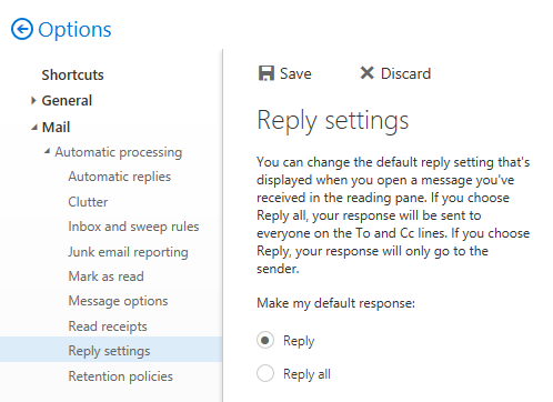 Setting the default Reply action via the Options screen.