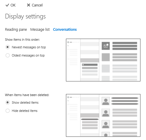 Conversations settings in the Options page of Outlook on the Web (Office 365 Exchange Online).
