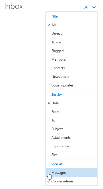 Disabling Conversation View in Outlook on the Web (Office 365 Exchange Online).