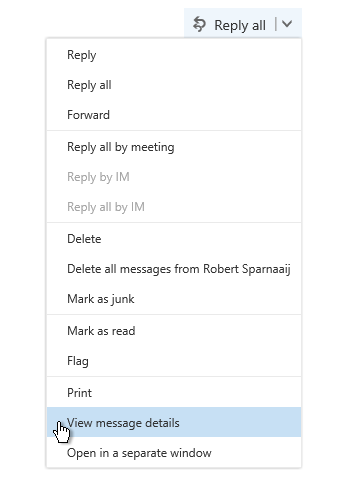 View Message Details command in Outlook on the Web 2016.