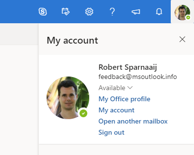 Open another mailbox… command in Outlook of the Web of Office 365.