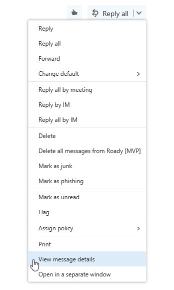 View Message Details command in Outlook on the Web of Office 365.