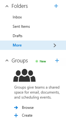 Outlook on the Web Navigation Pane with Favorites and Office 365 Groups.