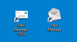 Desktop shortcuts to create a new message in OWA. On the left is the SHELL32.DLL envelope icon and on the right the EXPLORER.EXE envelope icon.