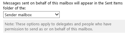 You can set where Sent Items when sending as a delegate should be stored in OWA (click on image to see the full options dialog).