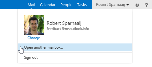 Open another mailbox... command in OWA 2013.