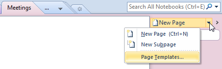 Accessing the Page Templates option in OneNote 2010