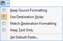 Pasting Options icon in Outlook 2007.