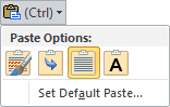 Pasting Options icon in Outlook 2010.