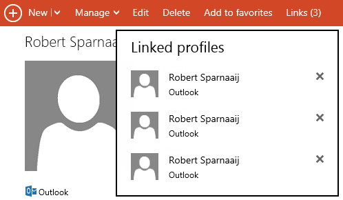 Linked Profiles show multiple contact items as a single combined contact item.
