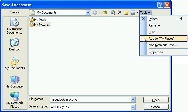 Adding a custom location to the Places Bar in Office 2003 on Windows XP. (click on image to enlarge)
