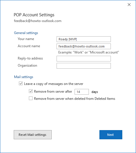 POP Account Settings Outlook for Office 365