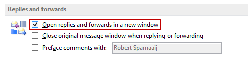 Open replies and forwards in a new window - Outlook 2013