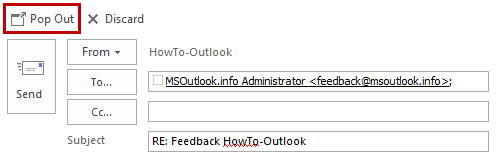 Pop Out a message in Outlook 2013 to get access to all the composing options and features