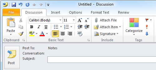 A Post item allows you to store Notes directly to a folder but with all the email features.