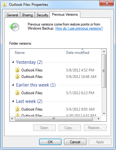 "Previous Versions of the ""Outlook Files"" folder in (My) Documents. (which is the default folder for pst-files in Outlook 2010)"