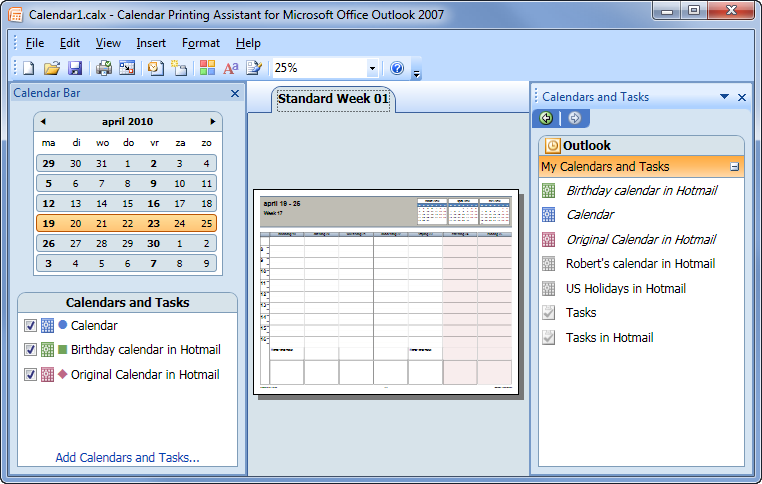 Printing combined calendars for Outlook calendar printing assistant templates