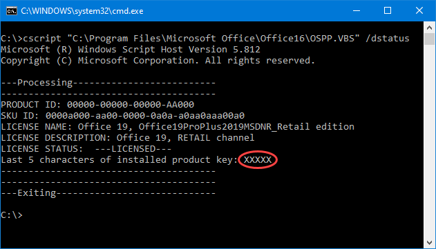 change windows product key powershell