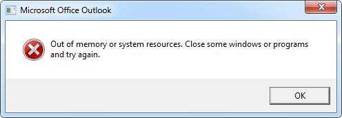 Out of memory or system resources. Close some windows or programs and try again.