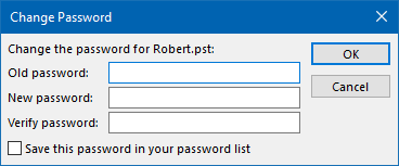 Password protect a pst-file