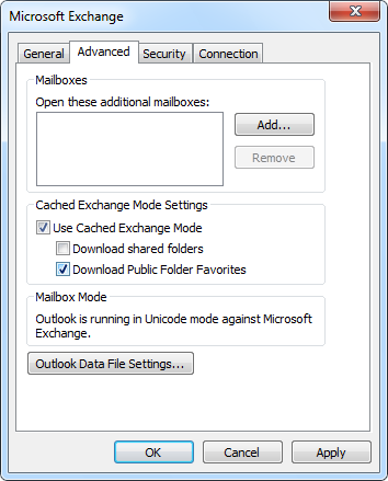 Enabling caching for Public Folder Favorites.