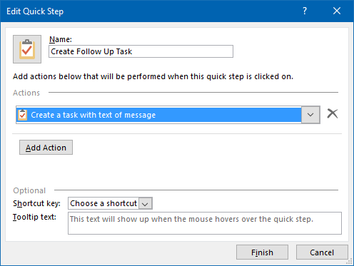 By using a Quick Step, creating a Follow Up Task for a message in an IMAP mailbox becomes much easier.