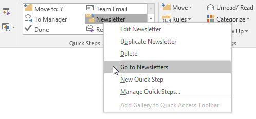 "A right click on a ""Move To Folder"" Quick Step offers you to go to that folder."
