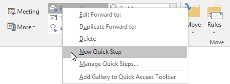 "Quickly add a new Quick Step by right clicking on an existing Quick Step and choosing ""New Quick Step""."