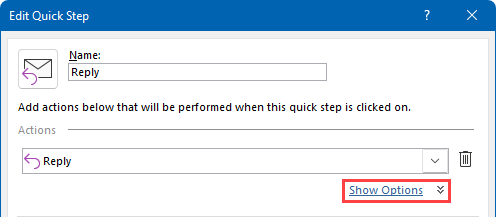 "Click on the ""Show Options"" link to show the Quick Step Reply options which includes specifying boilerplate text."