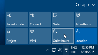 Quiet Hours button in the Action Center