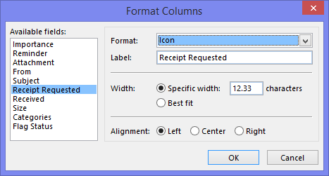 Format Columns - Setting the display of the Receipt Requested column to an icon.