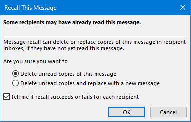 Recall This Message dialog box.
