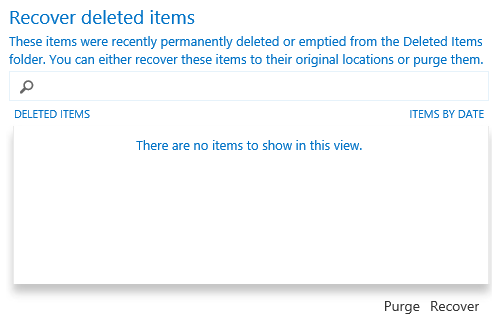 Recover Deleted Items Search dialog - OWA Exchange 2013