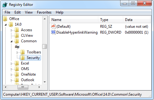 disablehyperlinkwarning registry edit applied for Office 2010