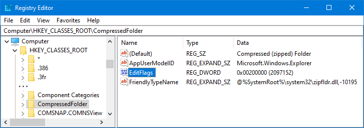 EditFlags for CompressedFolder (zip-file) in the Registry.