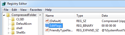 Resetting the EditFlags via the registry.
