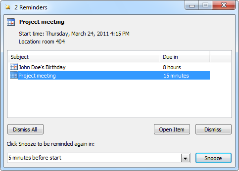 Outlook Reminder dialog