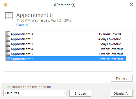 Reminders Window of Outlook 2013