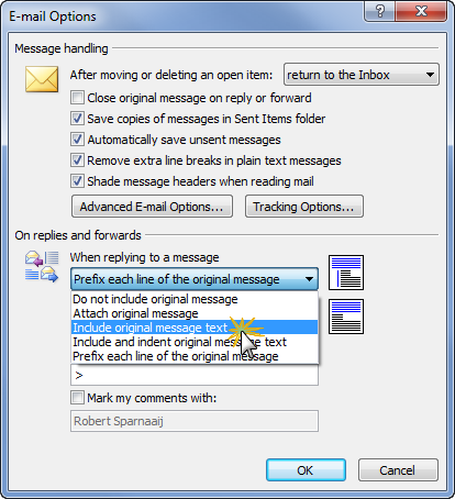 Changing reply/forward style in Outlook