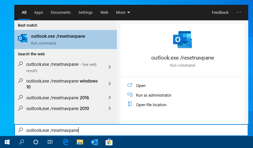 Starting Outlook with the resetnavpane switch in Windows 10.