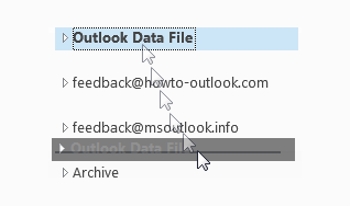 In Outlook 2010 and Outlook 2013, you can use the drag & drop method to resrt the order of your pst-files and mailboxes.