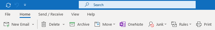 Print command added to a recreated and renamed Move group on the default Home tab.