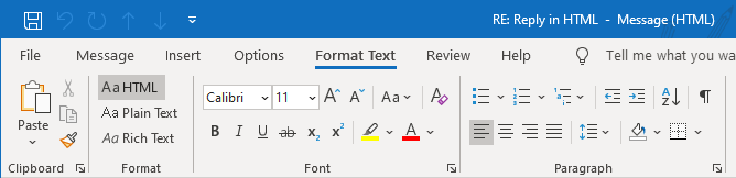 "Compared with Outlook 2007, in Outlook 2010 and 2013 you'll find the Message Format option on the ""Format Text"" tab instead of the ""Options"" tab."