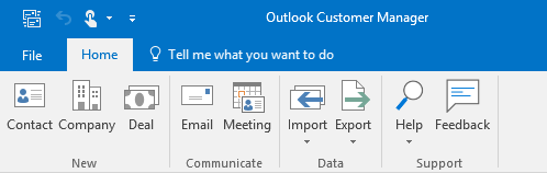 Home tab of Outlook Customer Manager (OCM).
