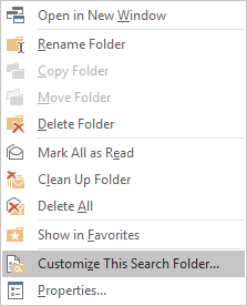 Right click menu Search Folder: Customize This Search Folder...