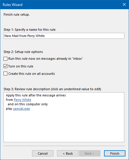 Play a custom New Mail sound for specific contacts