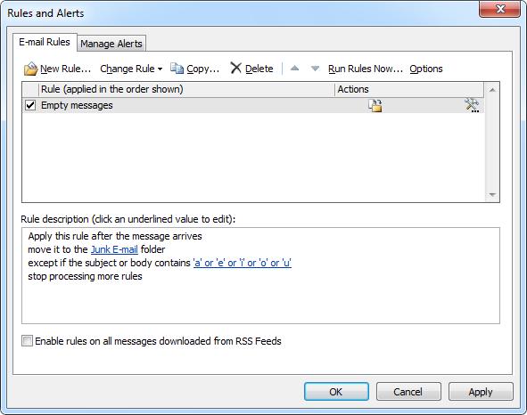 Receiving empty emails - MSOutlook info