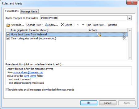 "The ""Move Sent Items from Web mail"" rule configured in Outlook (click on image to enlarge)"